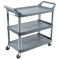 Rubbermaid FG409100GRAY Xtra Gray 300 lb. Three Shelf Utility Cart / Bus Cart 40 inch x 20 inch x 37 inch