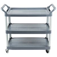 Rubbermaid FG409100GRAY Xtra Gray 300 lb. Three Shelf Utility Cart / Bus Cart 40 inch x 20 inch x 37 inch