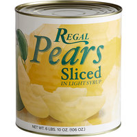 Regal Foods #10 Can Sliced Pears in Light Syrup
