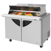 Turbo Air TST-48SD-18-DS 48 inch 2 Door Mega Top Dual Sided Refrigerated Sandwich Prep Table