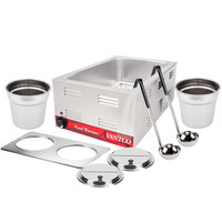 Avantco 12 inch x 20 inch Electric Countertop Food Warmer with 2 Insets, 2 Lids, and 2 Ladles - 120V, 1200W