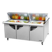 Turbo Air TST-72-SD-30-DS 72 inch 3 Door Mega Top Dual Sided Refrigerated Sandwich Prep Table