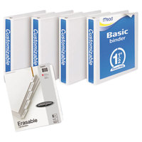 Mead 66334WU White Economy View Binder Plus Pack with 1 1/2 inch Round Rings