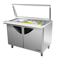Turbo Air TST-48SD-18-GL Super Deluxe 48 1/4 inch 2 Door Mega Top Refrigerated Sandwich Prep Table with Glass Lid