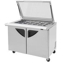 Turbo Air TST-48SD-18-GL 48 inch 2 Door Mega Top Hinged Glass Lid Refrigerated Sandwich Prep Table