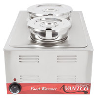 Avantco 12 inch x 20 inch Full Size Electric Countertop Food Warmer with (1) 4 Qt. Inset, (1) 7 Qt. Inset, and 2 Lids - 120V, 1200W