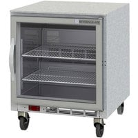 Beverage-Air UCR27AR-25-LED 27 inch Remote Cooled Undercounter Refrigerator with Glass Door and LED Lighting