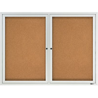 Quartet 2364 48 inch x 36 inch Silver Enclosed Aluminum Bulletin Board