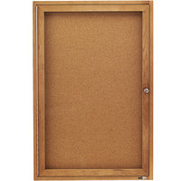 Quartet 363 24 inch x 36 inch Enclosed Cork Board with Oak Frame