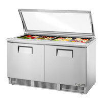 True TFP-64-24M-FGLID 64 1/8 inch 2 Door Mega Top Refrigerated Sandwich Prep Table with Glass Lid