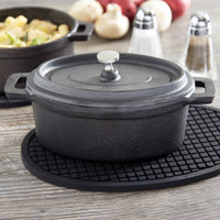 American Metalcraft CIPOV6040 18 oz. Pre- Seasoned Mini Cast Iron Oval Dutch Oven with Lid