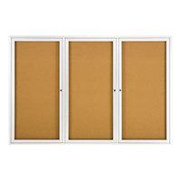 Quartet 2367 72 inch x 48 inch Silver Aluminum Enclosed Cork and Fiberboard Bulletin Board