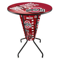 Holland Bar Stool L218B42OhioSt36ROhioSt-D2 Ohio State University 36 inch Round Bar Height LED Pub Table
