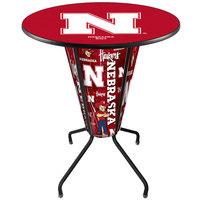 Holland Bar Stool L218B42NebrUn36RNebrUn University of Nebraska 36 inch Round Bar Height LED Pub Table