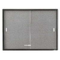 Quartet 2364S 48 inch x 36 inch Gray Aluminum Frame and Glass Enclosed Fabric Cork Bulletin Board