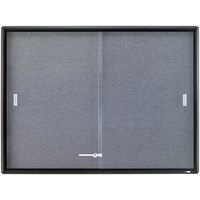 Quartet 2364S 48 inch x 36 inch Graphite Aluminum Frame and Glass Enclosed Fabric Cork Bulletin Board