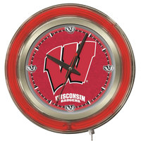 Holland Bar Stool Clk15Wisc-W University of Wisconsin 15 inch Neon Clock