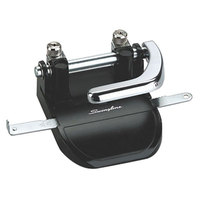 Swingline 74060 40 Sheet Black and Chrome Heavy-Duty Steel 2 Hole Punch - 1/4 inch Holes