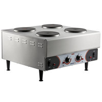 Nemco 6311-4-240 Electric Countertop Raised Hot Plate with 4 Solid Burners - 240V