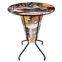 Holland Bar Stool L218B42IndianWrap-36RIndn-Col Indian Motorcycle 36 inch Round Bar Height LED Pub Table