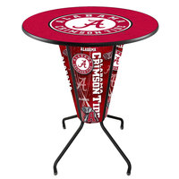 Holland Bar Stool L218B42Alabma36RAL-A University of Alabama 36 inch Round Bar Height LED Pub Table