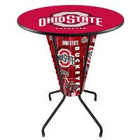 Holland Bar Stool L218B42OhioSt36ROhioSt Ohio State University 36 inch Round Bar Height LED Pub Table
