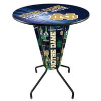 Holland Bar Stool L218B42NotreD36RND-ND-D2 University of Notre Dame 36 inch Round Bar Height LED Pub Table