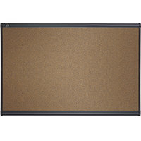 Quartet B247G Prestige 72 inch x 48 inch Brown Cork and Fiberboard Bulletin Board with Graphite Finish Frame