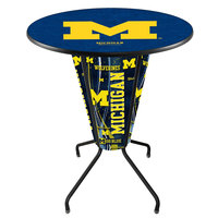 Holland Bar Stool L218B42MichUn36RMichUn University of Michigan 36 inch Round Bar Height LED Pub Table