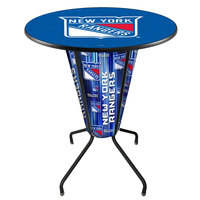 Holland Bar Stool L218B42NYRang36RNYRang New York Rangers 36 inch Round Bar Height LED Pub Table