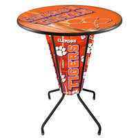 Holland Bar Stool L218B42Clmson36RClmson-D2 Clemson University 36 inch Round Bar Height LED Pub Table