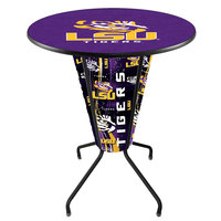 Holland Bar Stool L218B42LaStUn36RLaStUn Louisiana State University 36 inch Round Bar Height LED Pub Table