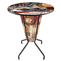 Holland Bar Stool L218B42Indian1P-36RIndn-Col Indian Motorcycle 36 inch Round Bar Height LED Pub Table