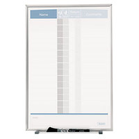 Quartet 33703 Matrix 11 inch x 16 inch Magnetic Aluminum In-Out Board with Silver Aluminum Board