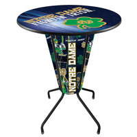 Holland Bar Stool L218B42NotreD36RND-Shm-D2 University of Notre Dame 36 inch Round Bar Height LED Pub Table