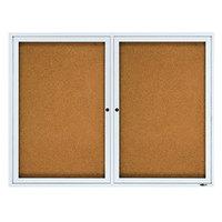Quartet 2124 48 inch x 36 inch Silver Aluminum Enclosed Cork and Fiberboard Bulletin Board