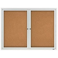 Quartet 2124 48 inch x 36 inch Silver Aluminum Enclosed Cork and Fiberboard Bulletin Board