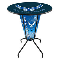 Holland Bar Stool L218B42AirFor36RAirFor United States Air Force 36 inch Round Bar Height LED Pub Table