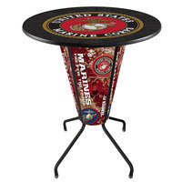 Holland Bar Stool L218B42Marine36RMarine United States Marine Corps 36 inch Round Bar Height LED Pub Table