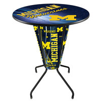 Holland Bar Stool L218B42MichUn36RMichUn-D2 University of Michigan 36 inch Round Bar Height LED Pub Table