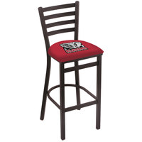Holland Bar Stool L00430AL-Ele Black Steel University of Alabama Bar Height Chair with Ladder Back and Padded Seat