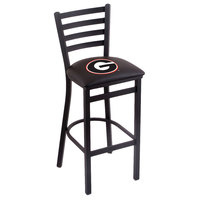 Holland Bar Stool L00430GA-G Black Steel University of Georgia Bar Height Chair with Ladder Back and Padded Seat