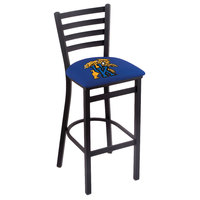 Holland Bar Stool L00430UKYCat Black Steel University of Kentucky Bar Height Chair with Ladder Back and Padded Seat