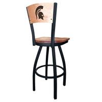 Holland Bar Stool L03830BWMedMplAMichStMedMpl Black Steel Michigan State University Laser Engraved Bar Height Swivel Chair with Maple Back and Seat