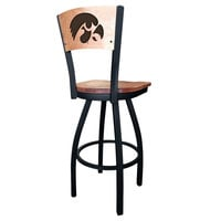 Holland Bar Stool L03830BWMedMplAIowaUnMedMpl Black Steel University of Iowa Laser Engraved Bar Height Swivel Chair with Maple Back and Seat