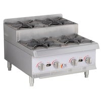 Cooking Performance Group CK-HPSU424 24 inch Step-Up Countertop Range / Hot Plate with 4 High Output Burners - 120,000 BTU