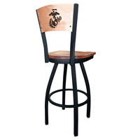 Holland Bar Stool L03830BWMedMplAMarineMedMpl Black Steel United States Marine Corps Laser Engraved Bar Height Swivel Chair with Maple Back and Seat
