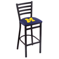 Holland Bar Stool L00430MichUn Black Steel University of Michigan Bar Height Chair with Ladder Back and Padded Seat