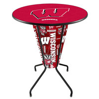 Holland Bar Stool L218B42Wiscon36RWisc-W University of Wisconsin 36 inch Round Bar Height LED Pub Table