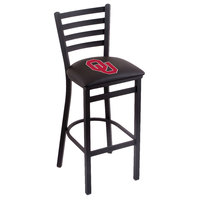Holland Bar Stool L00430Oklhma Black Steel University of Oklahoma Bar Height Chair with Ladder Back and Padded Seat